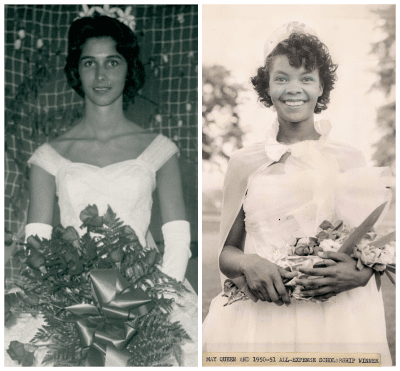 Left: Western Carolina University May Queen; undated but probably early 1960s from hairstyle. Right: May Queen and 1950-51 All-Expense Scholarship Winner at Talladega College.