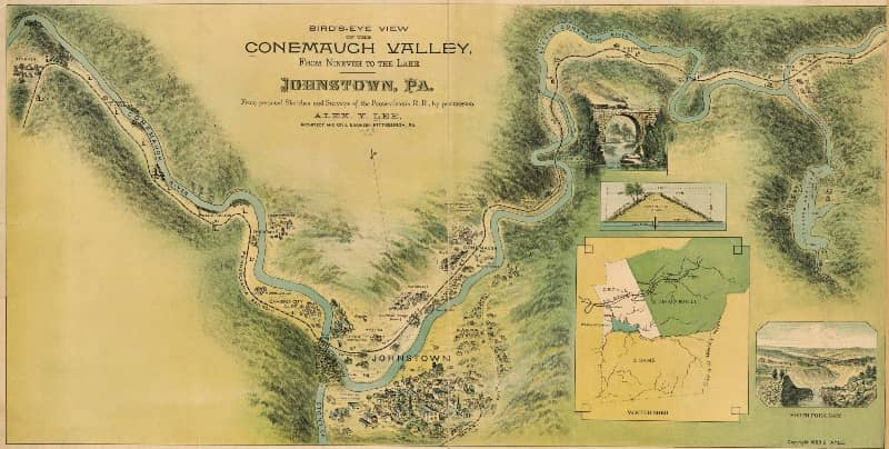 1889 bird's-eye view of the Conemaugh Valley from Nineveh to the lake, Johnstown, Pa. : from personal sketches and surveys of the Pennsylvania R.R.