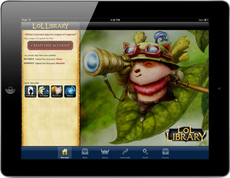Lol Library  League of Legends Mobile App   iPhone  iPad    Android LoL Library Screenshot Galleries