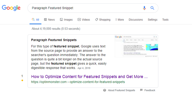 Text or Paragraph Featured Snippet