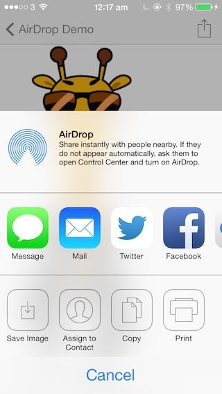 UIActivityViewController AirDrop