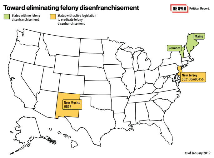 Map of state-level reforms eliminating felony disenfranchisement