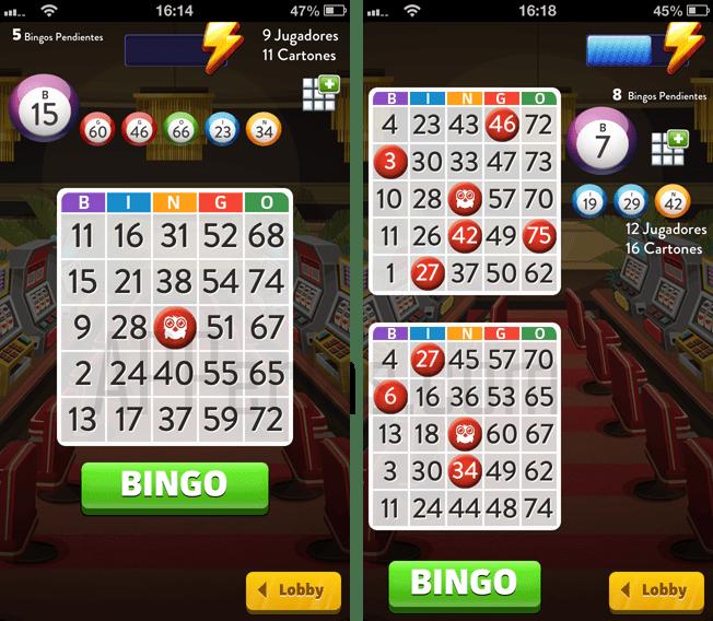 Interfaz de la app Bingo Crack