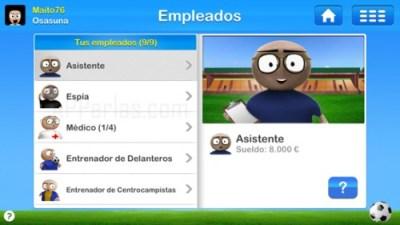 Empleados juego de Entrenador de fútbol