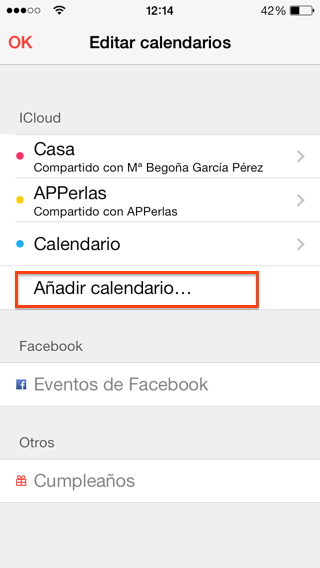 Compartir calendarios iOS en iPad