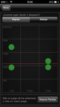 Partidas rápidas de ajedrez en SocialChess iPhone