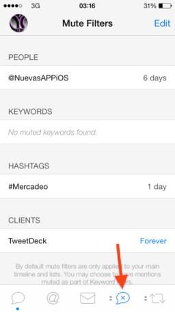 opción de Silenciar en Tweetbot