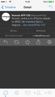 Detalles del tweet dentro de la mejor app para twitter en iphone