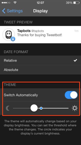tema nocturno para tweetbot app iPhone