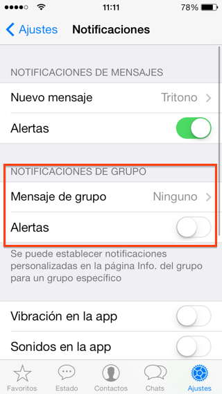 Silenciar para siempre los grupos de Whatsapp