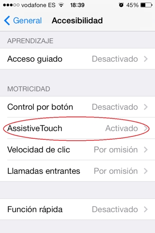 assistive touch en iPhone, ipad y ipod touch