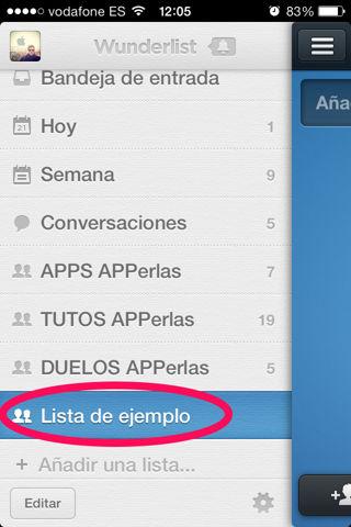 compartir listas en Wunderlist para iPod Touch