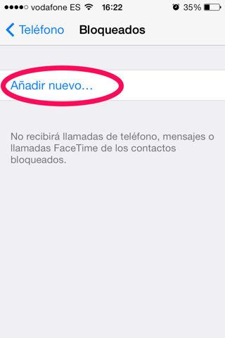 bloquear contactos en iPhone iOS7