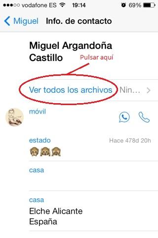 Los archivos recibidos en whatsapp