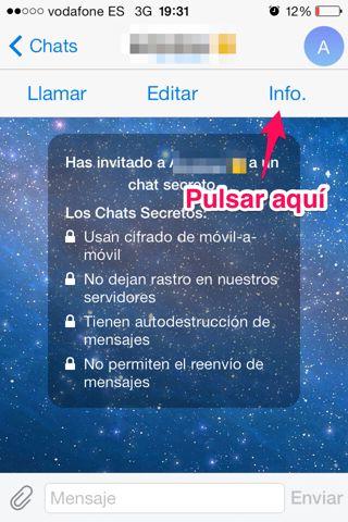 activar autodestrucción en Telegram para iPhone