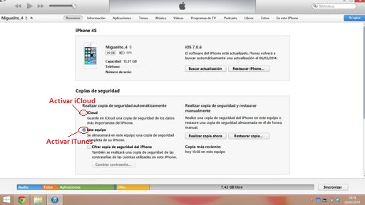 copia de seguridad en iPhone desde iTunes