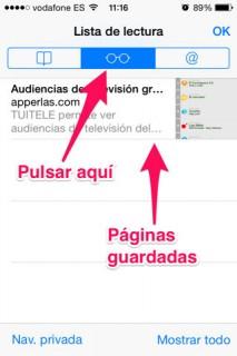 listas de lectura en iPhone, iPad