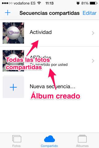 crear secuencia en iCloud para iPad