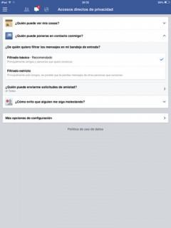 privacidad en facebook contacto