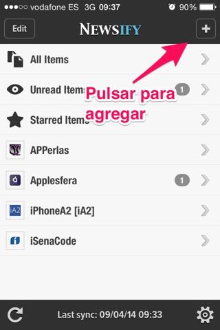 agregar feeds en Newsify