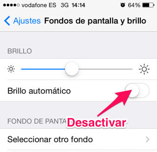 brillo automático del iPhone, iPad