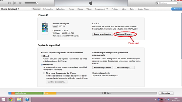 restaurar un iphone 4