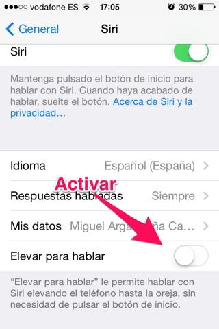 Activar Siri 3