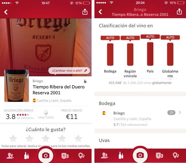 información de vinos app