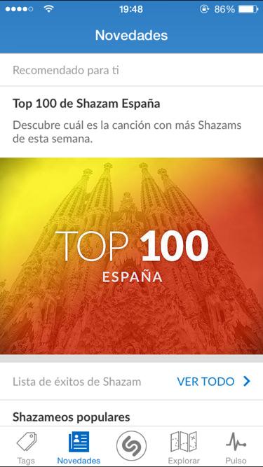 Shazam 8.0 en iPhone