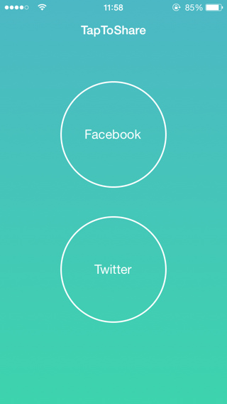 TapToShare compartir en twitter y facebook rápidamente