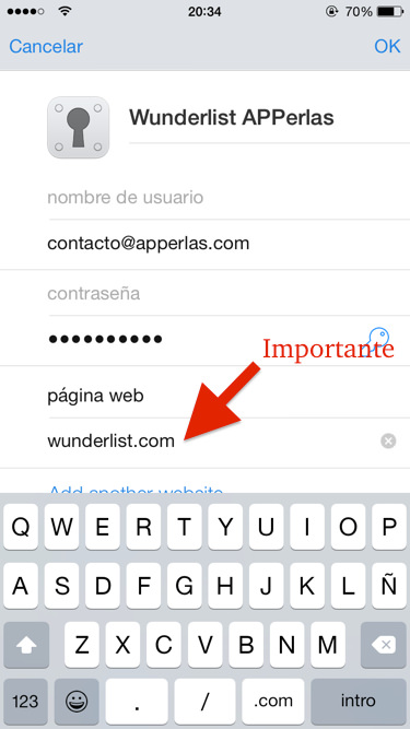 Acceder a Wunderlist usando 1Password