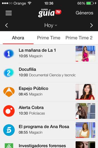 Pantalla principal de la app Súper Guía TV