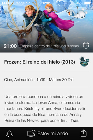 Información de programas en la app Súper Guía TV