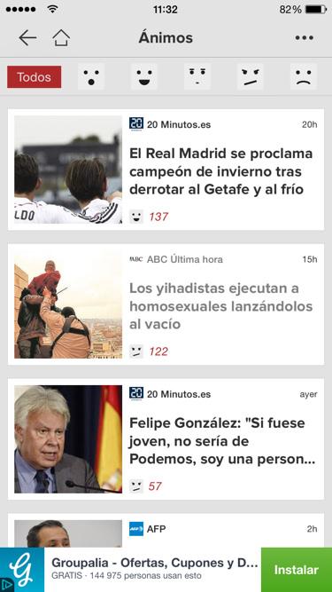 Noticias y sección ánimos