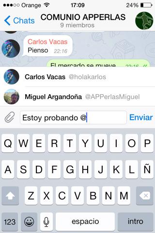 Telegram 2.10 Menciones