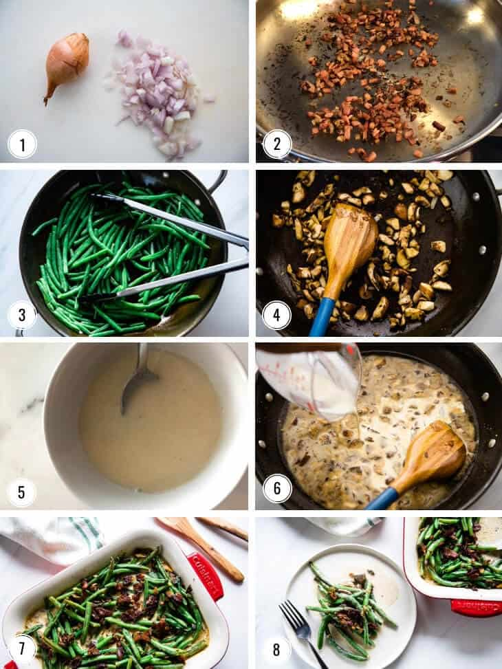 Image collage showing step by step how to make Sautéed Green Beans with Bacon Cream Sauce