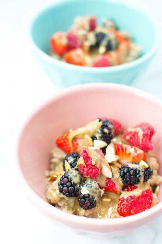 fruit and sunbutter oatmeal bowls - Appetites Anonymous
