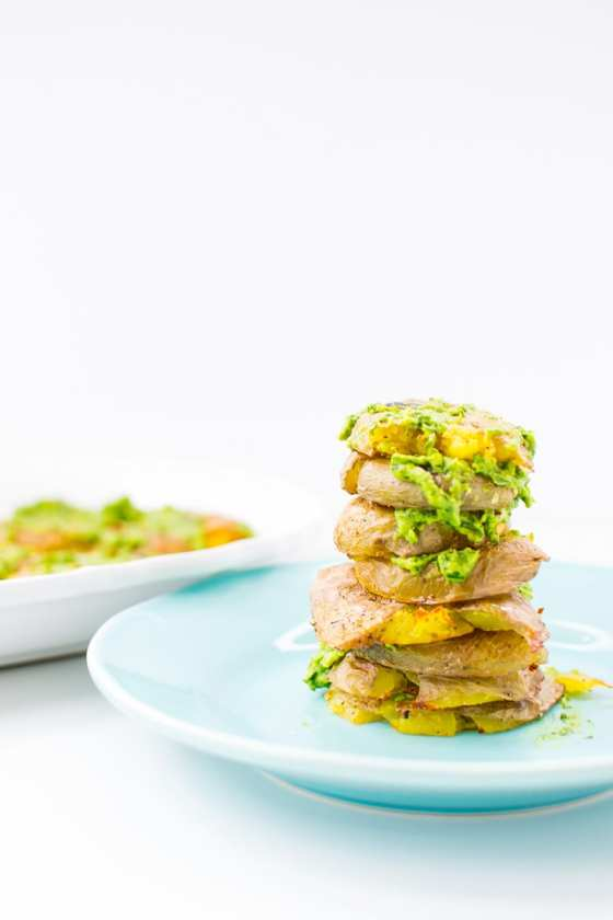 crispy smashed potatoes with avocado chimichurri | Appetites Anonymous