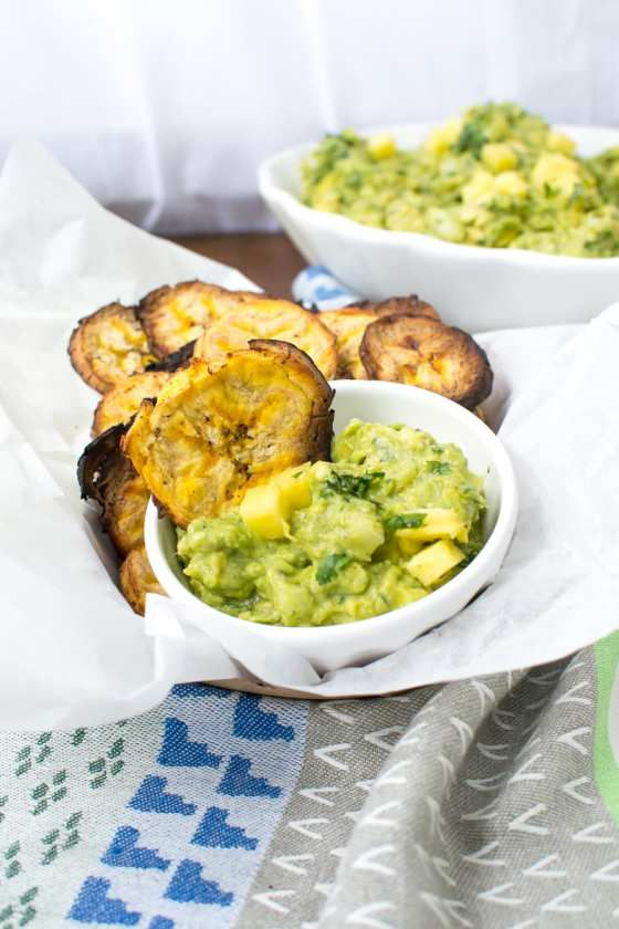 pineapple guacamole with crispy plantain chips | Appetites Anonymous