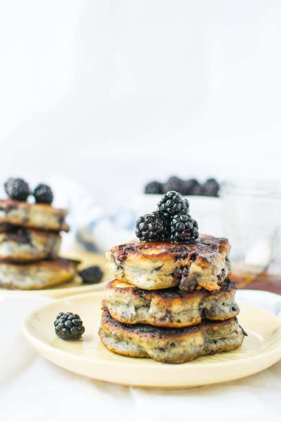 blackberry buttermilk pancakes with honey coconut syrup | Appetites Anonymous