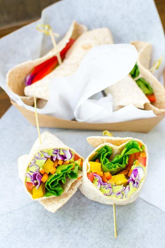 rainbow wraps with wasabi pea hummus - Appetites Anonymous