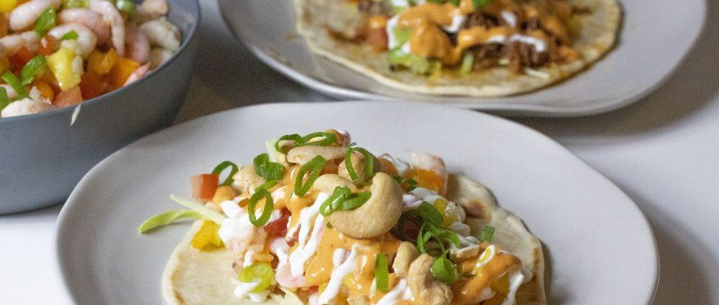 Taco med oksekød og rejer
