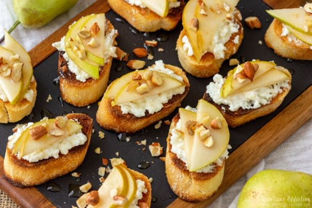 Pear and Goat Cheese Crostinis