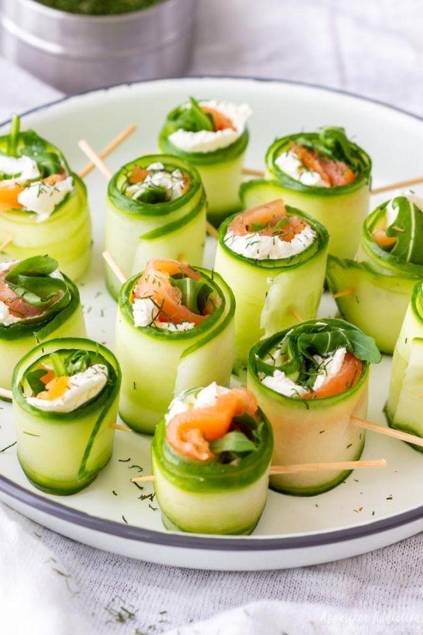 Homemade Smoked Salmon Cucumber Rolls