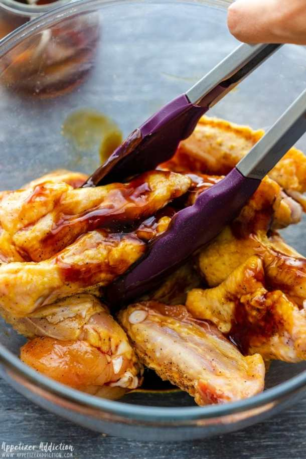 How to make Air Fryer Sticky Chicken Wings Step 1 - Season and marinate wings