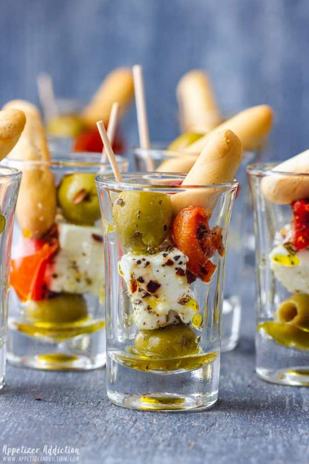 Olive and Feta Shooters for Party