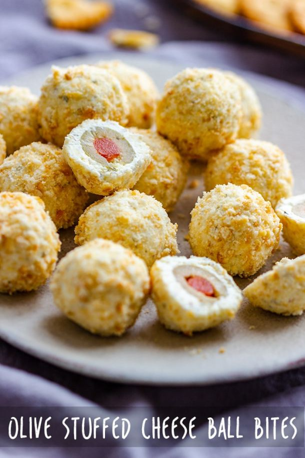 Easy recipe for mini cheese ball bites stuffed with olives and coated in Ritz cracker crumbs. They are the perfect appetizers for Christmas party, New Year's party or any get together! #cheeseballs #olives #partyfood #appetizers