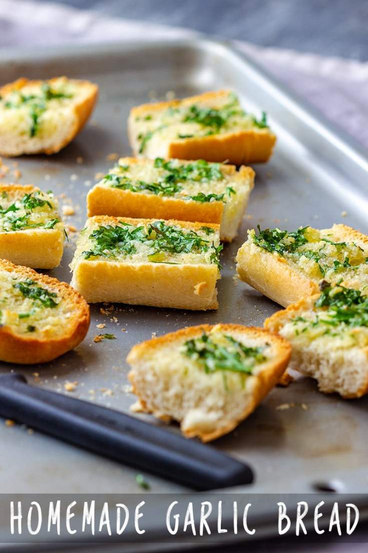 This homemade garlic bread recipe is easy and quick to make so why not make it yourself? A few simple ingredients and 5 minutes baking time is all you need! #garlicbread