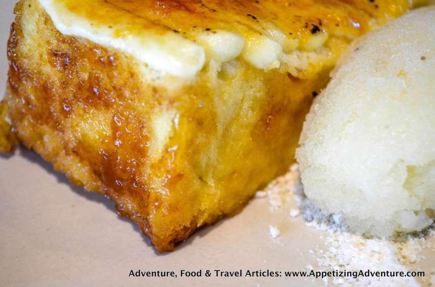 Torrija De Coco Caramelizada Php195 (CAramelized coconut brioche with pineapple sorbet)