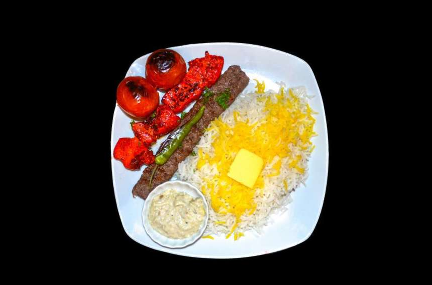 Chelo Kebab Combination Php339 Choice of grilled beef kebab (grilled ground beef) and chicken tikka (grilled chicken breast fillet)